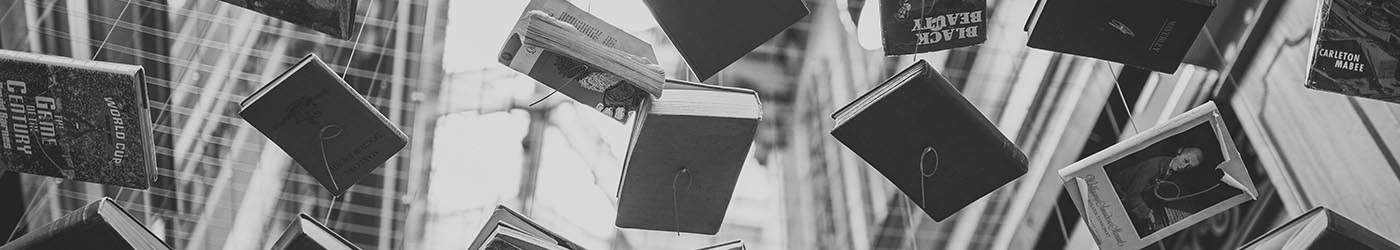 Grayscale Photo of Hanging Books, image courtesy of Pexels