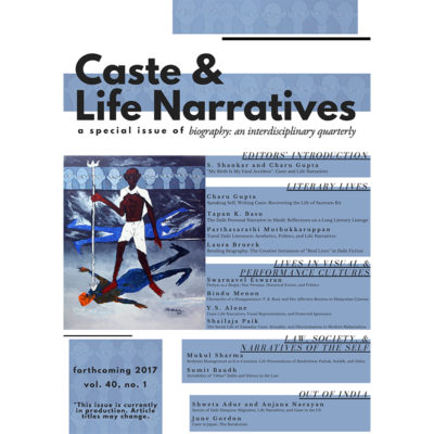 Caste & Life Narratives journal special issue front cover