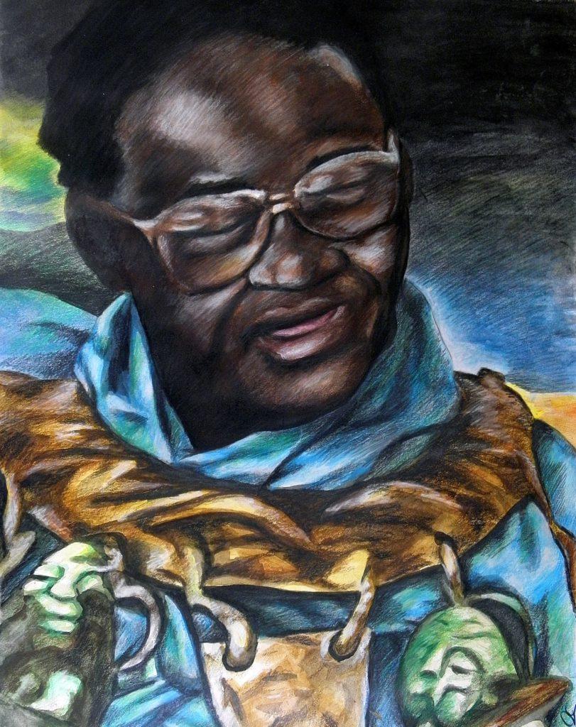 Portrait of Vusamazulu Credo Mutwa (1921-) by Phabellis (via Deviant Art: https://phabellis.deviantart.com/art/Vusamazulu-Credo-Mutwa-287959296)
