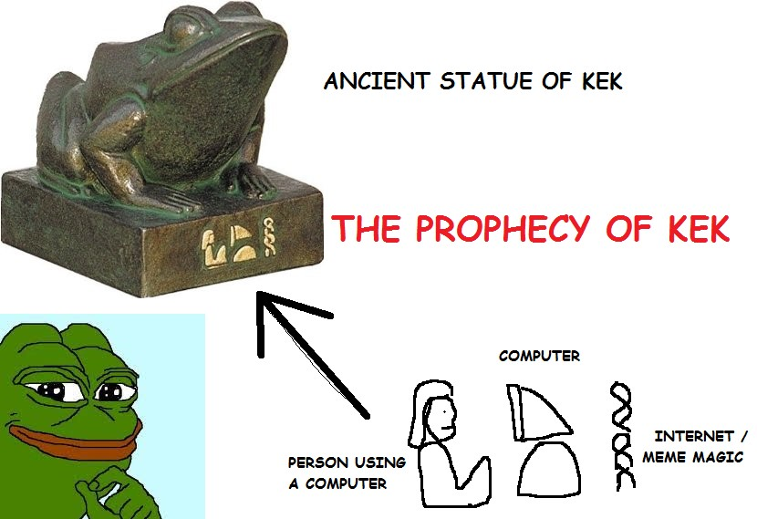"An example of the use of a Pepe the Frog meme made by a self-proclaimed members of the internet nation of ""Kekistan,"" a country invented by users on 4chan's /pol/ board as the tongue-in-cheek ethnic origin of alt-right ""shitposters,"" known as ""Kekistanis."" (via Wikimedia Commons)"