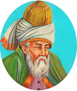 A typical depiction of Rumi. Yeni Capi, Istanbul.