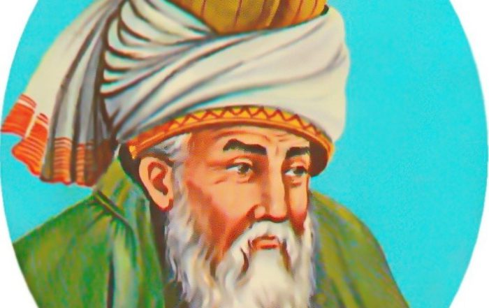A typical depiction of Rumi. Rumi 's poetry is a key part of the persianate canon