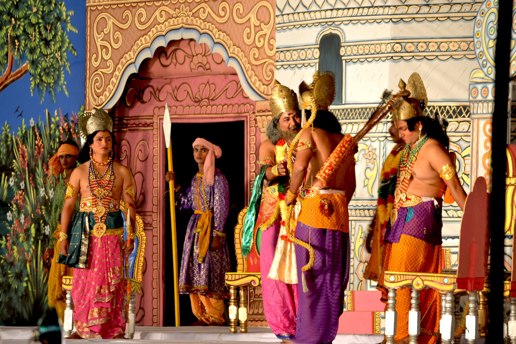 A scene from Ramlila in Ramlila Maidan, performance and oral storytelling